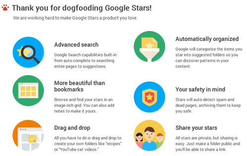 Google Stars dashboard allows users to search saved bookmarks, engage with bookmarks by editing and socially sharing it with friends & followers. #plbkkt via #blogs4bytes