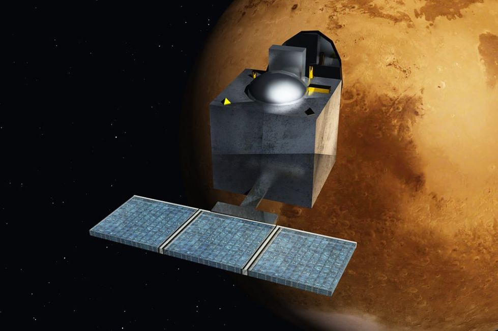 Artist's rendering of the MOM orbiting Mars // Source Wiki via @blogs4bytes